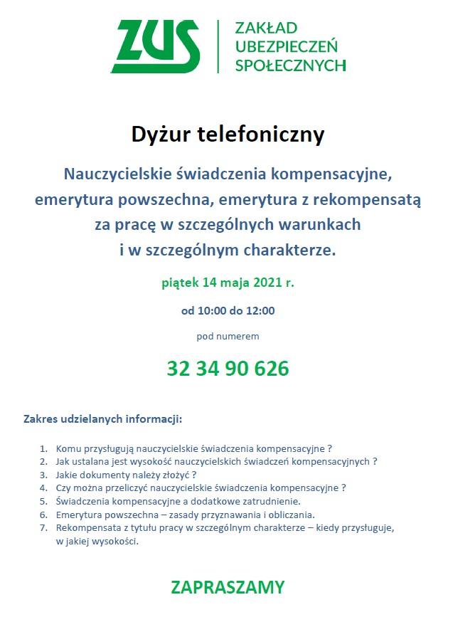 DYŻUR TELEFONICZNY 14 MAJA
