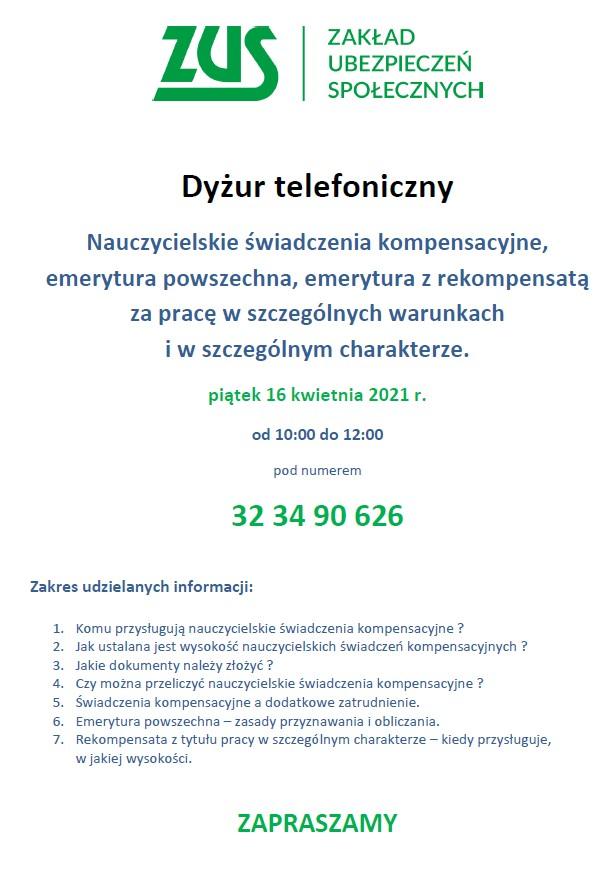 DYŻUR TELEFONICZNY 16 KWIETNIA